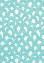 Fabrics - Trina Turk Arches Print Pool Fabric I LynnChalk.com - turquoise and white fabric, contemporary turquoise and white fabric, turquoise and white fish scale style fabric,