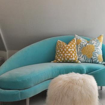 Simplified Bee - girl's rooms - turquoise chaise lounge, turquoise blue velvet chaise lounge, turquoise velvet chaise lounge, turquoise blue velvet chaise lounge, embroidered pillow, mustard pillows, shag pouf, built in bookcase, whitewashed floor, whitewashed plank floor, white wood floor, white plank floor,