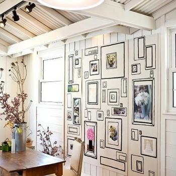 Kriste Michelini Interiors - dining rooms - whimsical room, wood beamed ceiling, painted frames wall, farmhouse dining table, french dining chairs, square back dining chairs, french square back dining chairs, square back french dining chairs,