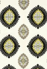 Fabrics - Trina Turk Super Paradise Print Driftwood Fabric I LynnChalk.com - black yellow gray and ivory medallion fabric, medallion style fabric, trina turk fabric,