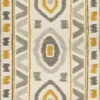 Fabrics - Thom Filicia PROSPECT Shadow Fabric I LynnChalk.com - gray yellow and ivory fabric, gray yellow and ivory tribal style fabric,
