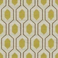 Fabrics - Thom Filicia Euclid in Citron Fabric I LynnChalk.com - yellow ivory and brown modern fabric, yellow ivory and brown geometric fabric,