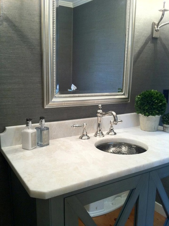 Gray Grasscloth Transitional Bathroom Pinney Designs