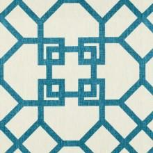 Fabrics - Windsor Smith Xu Garden Akuatik Light Blue Fabric I LynnChalk.com - blue and white fretwork fabric, blue on white fretwork fabric, blue on white geometric fabric,