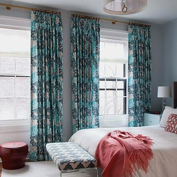 Turquoise and Teal Curtains, Contemporary, bedroom, CWB Architects