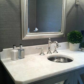 Gray Grasscloth, Transitional, bathroom, Pinney Designs