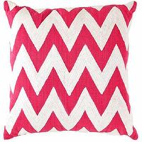 Pillows - Fresh American Chevron Fuchsia/White Indoor/Outdoor Pillow | Dash & Albert Rug Company - fuchsia and white chevron pillow, pink and white chevron pillow, fuchsia and white chevron indoor outdoor pillow,