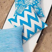 Pillows - Fresh American Chevron Turquoise/White Indoor/Outdoor Pillow | Dash & Albert Rug Company - turquoise and white chevron pillow, turquoise and white indoor outdoor chevron pillow,