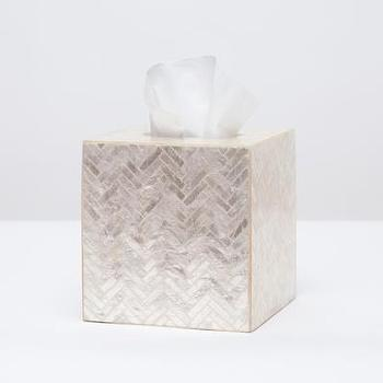 Bath - Handa Tissue Box I Pigeon & Poodle - capiz shell tissue box cover, capiz tissue box cover, herringbone patterned capiz shell tissue box cover,
