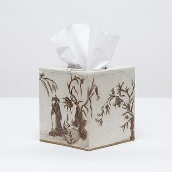 Decor/Accessories - Datong Tissue Box I Pigeon & Poodle - chinoiserie tissue box, white chinoiserie tissue box cover, chinoiserie style tissue box cover,