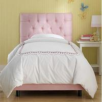 Beds/Headboards - Skyline Furniture Tufted Micro-Suede Youth Bed in Light Pink | Wayfair - light pink tufted bed, light pink tufted headboard with bed frame, light pink micro-suede tufted bed,