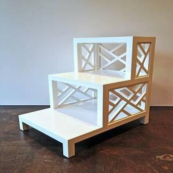 Tables - Three Tier Painted Bedside Table | Mecox Gardens - white lattice bedside table, white lattice nightstand, three tiered white lattice bedside table, three tiered white lattice nightstand,