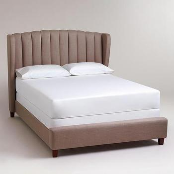 Beds/Headboards - Marlow Wingback Queen Bed | World Market - taupe wingback bed, taupe wingback bed with channel tufted headboard, taupe channel tufted bed,