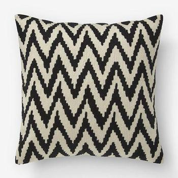 Pillows - Chevron Crewel Pillow Cover  Iron | west elm - black chevron crewel pillow, black chevron pillow, black zigzag pillow,