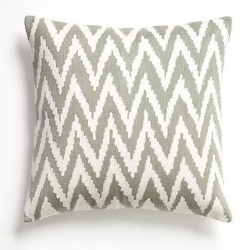 Chevron Crewel Pillow Cover Platinum, west elm