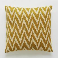 Pillows - Chevron Crewel Pillow Cover Golden Gate | west elm - mustard yellow chevron pillow, mustard yellow chevron crewel pillow, golden yellow chevron pillow,