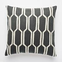 Pillows - Honeycomb Crewel Pillow Cover  Slate | west elm - dark gray and white honeycomb crewel pillow, charcoal gray and white modern pillow, geometric dark gray and white pillow,