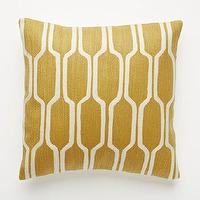 Pillows - Honeycomb Crewel Pillow Cover Golden Gate | west elm - gold crewel pillow, yellow gold honeycomb pillow, honeycomb print pillow,