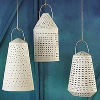 Lighting - Recycled Metal Lanterns | west elm - white pierced metal lanterns, haitian metal lanterns, recycled metal lanterns,