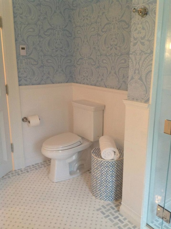 Blue Damask Wallpaper Transitional Bathroom Tri