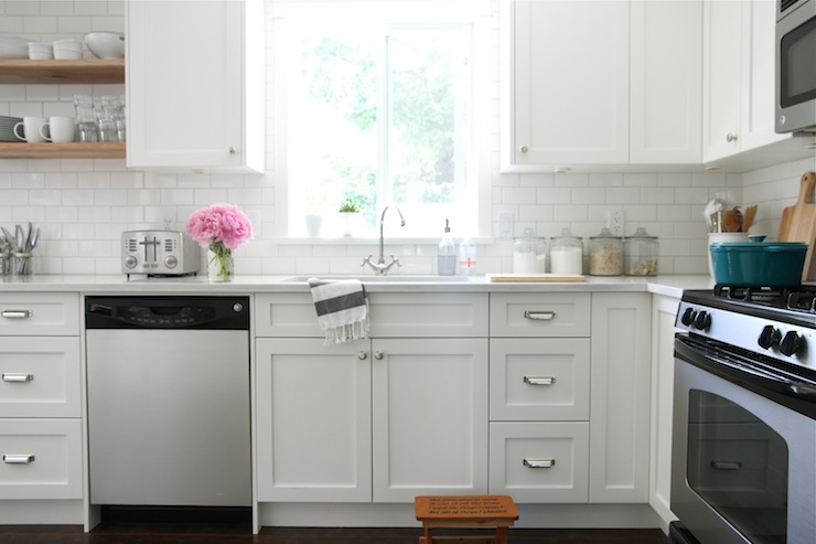 White Shaker Cabinets - Transitional - kitchen - Benjamin Moore - Ikea Shaker Kitchen