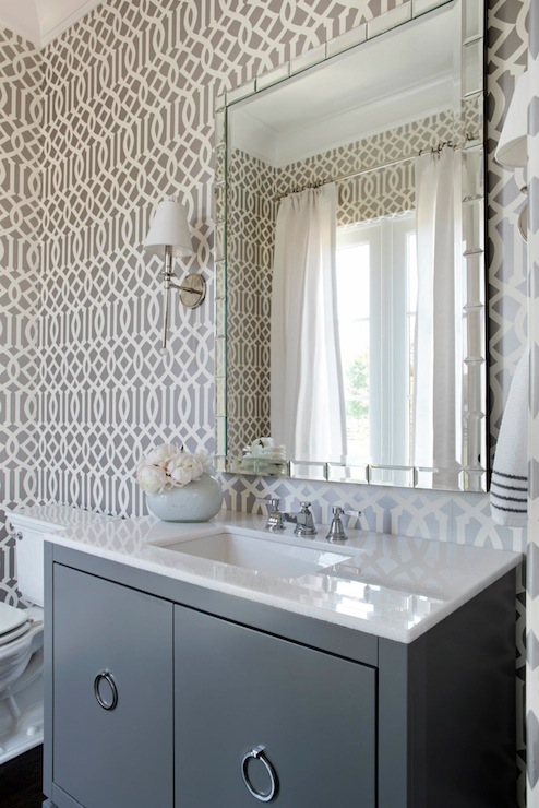 Gray Powder Room Contemporary Bathroom Tri Traci