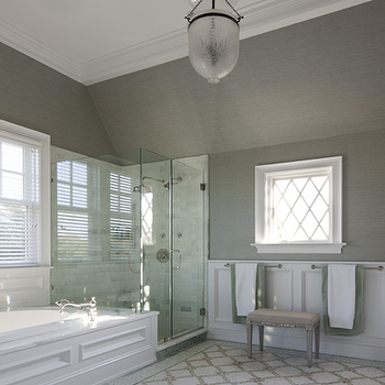 bathroom vaulted ceiling, gray grasscloth, gray grasscloth wallpaper