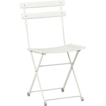 Seating - Pronto White Folding Bistro Chair | Crate and Barrel - white folding bistro chair, white folding outdoor bistro chair, white outdoor folding cafe chair,