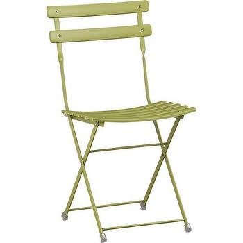 Seating - Pronto Green Folding Bistro Chair | Crate and Barrel - green folding outdoor chair, green folding bistro chair, green outdoor folding bistro chair,
