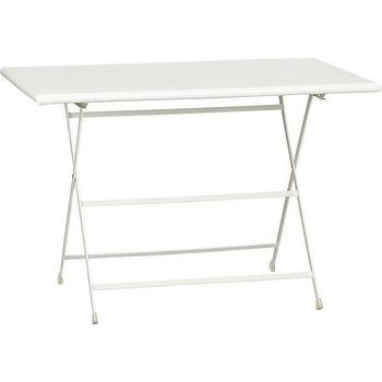 Tables - Pronto Large White Folding Bistro Table | Crate and Barrel - white folding bistro table, white outdoor bistro table, white folding outdoor table,