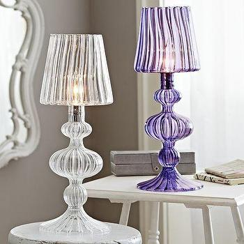 Lighting - Reagan Glass Table Lamp | PBteen - glass table lamp, glass table lamp with glass shade, purple glass table lamp, purple glass table lamp with glass shade,