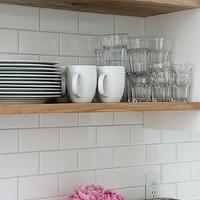 Our House - kitchens - home depot tiles, home depot subway tiles, subway tile backsplash, subway tile kitchen, stacked shelves, kitchen shelves, stacked kitchen shelves, floating shelves, floating kitchen shelves,
