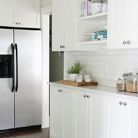 Our House - kitchens - Benjamin Moore - Cloud White - home depot tiles, home depot subway tiles, subway tile backsplash, subway tile kitchen, cookbook shelves, cookbook shelving, open shelving, vintage canisters, cloud white,
