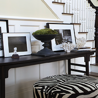 Nanjoo Design - entrances/foyers - foyer, entrance, chinese altar table, espresso altar table, altar console table, black and white photo gallery, round ottoman, zebra ottoman, round zebra ottoman, black and white stair runner,