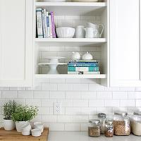 Our House - kitchens - home depot tiles, home depot subway tiles, subway tile backsplash, subway tile kitchen, shaker cabinets, white shaker cabinets, quartz countertops, white quartz countertops, cookbook shelves, open cookbook shelves, cloud white,