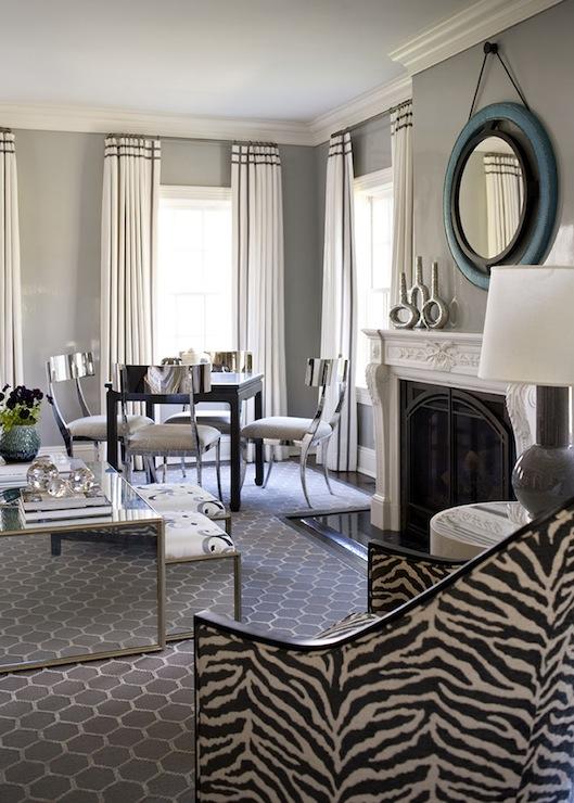 Chrome Klismos Chairs Contemporary Living Room Muse