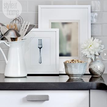 Style at Home - kitchens - ikea kitchen, ikea cabinets, ikea kitchen cabinets, lidingo doors, ikea lidingo doors, light gray subway tile, light gray subway tile backsplash, light gray subway tile kitchen, black countertops., Ikea Tyda Handle,