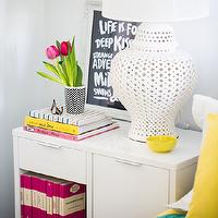 Adore Magazine - girl's rooms: colorful bedroom, white lacquer nightstand, lacquer nightstand, lantern lamp, white lantern lamp, pierced lantern lamp, pierced lamp, white pierced lamp, pink books, hot pink books, pink accents, hot pink accents,