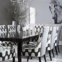 Muse Interiors - dining rooms: gray dining room, gray wallpaper, metallic wallpaper, gray metallic wallpaper, silver wallpaper, silver metallic wallpaper, lucite chandelier, black dining table, upholstered dining chairs, Martin Lawrence Bullard Fabric, majorelle fabric, gray rug, gray geometric rug, white and gray geometric rug, horse art,