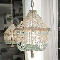 Lighting - Marbella Chandelier | PBteen - seashell chandelier, seashell and coco bead chandelier, white and aqua beaded chandelier,