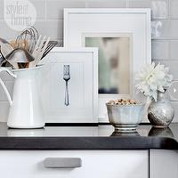 Style at Home - kitchens - ikea kitchen, ikea cabinets, ikea kitchen cabinets, lidingo doors, ikea lidingo doors, light gray subway tile, light gray subway tile backsplash, light gray subway tile kitchen, black countertops.,
