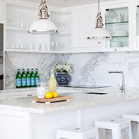 Adore Magazine - kitchens - kitchen peninsula, marble kitchen peninsula, marble top kitchen peninsula, kitchen peninsula sink, white tolix stool, tolix counter stools, tolix bar stools, modern kitchen faucet, white industrial pendants, open shelving, kitchen open shelving,