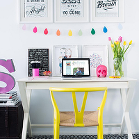 Adore Magazine - girl's rooms: girls desk, girls room, girls bedroom, x base desk, x desk, white x desk, white x base desk, yellow chair, yellow wishbone chair, black and white rug, diamonds rug, black and white diamonds rug, yellow desk chair, yellow task chair,