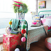Adore Magazine - girl's rooms: turquoise bed, twin bed, twin turquoise bed, turquoise blue bed, cage pendants, turquoise cage pendants, turquoise blue cage pendants, turquoise and red blanket, hot pink sheets, pink and gold cube, metallic cube, metallic cube table, teal throw, teal throw blanket,