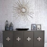 Muse Interiors - dining rooms - gray dining room, gray cabinet, gray buffet, gray buffet cabinet, silver sunburst mirror, silver wallpaper, metallic wallpaper, silver metallic wallpaper, gray wallpaper, gray metallic wallpaper, gray rug,