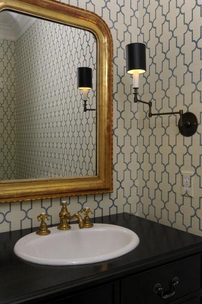 Moorish Tile Wallpaper Transitional Bathroom The