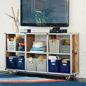 Storage Furniture - Roadie Bookcase | PBteen - industrial bookcase, industrial bookcase on castors, metal and teak bookshelves,
