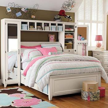 Beds/Headboards - Hampton Storage Bed + Mirror Tower Set | PBteen - storage bed, storage bed with mirrored towers, mirrored tower storage bed with shelves,
