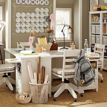 Storage Furniture - Beadboard Basic & Smart Mega Desk | PBteen - beadboard desk, white beadboard desk, white beadboard paneled desk,
