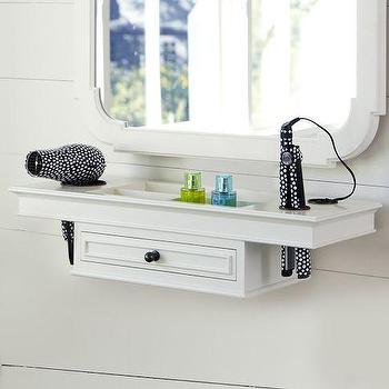 Decor/Accessories - Classic Getting Ready Shelf | PBteen - white make-up shelf, white mirror with storage shelf, white bathroom mirror with storage shelf,